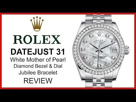 ▶ Rolex Lady Datejust 31, White Mother Of Pearl, Diamond Bezel & Dial, Steel, REVIEW - 178384