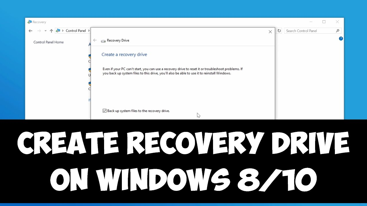 cannot create a recovery drive in windows 10