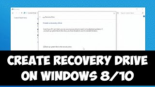 Create recovery drive on Windows 8/10