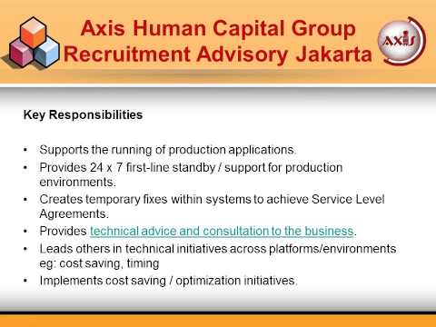 Axis Human Capital Group Recruitment Advisory Jakarta - Jobs for IT Support Specialists