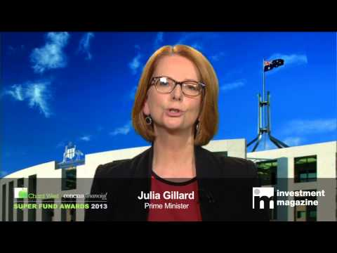Prime Minister Julia Gillard announces Super Fund of the Year