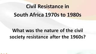 Civil Society resistance in South Africa 1960-1980 - Apartheid Movement