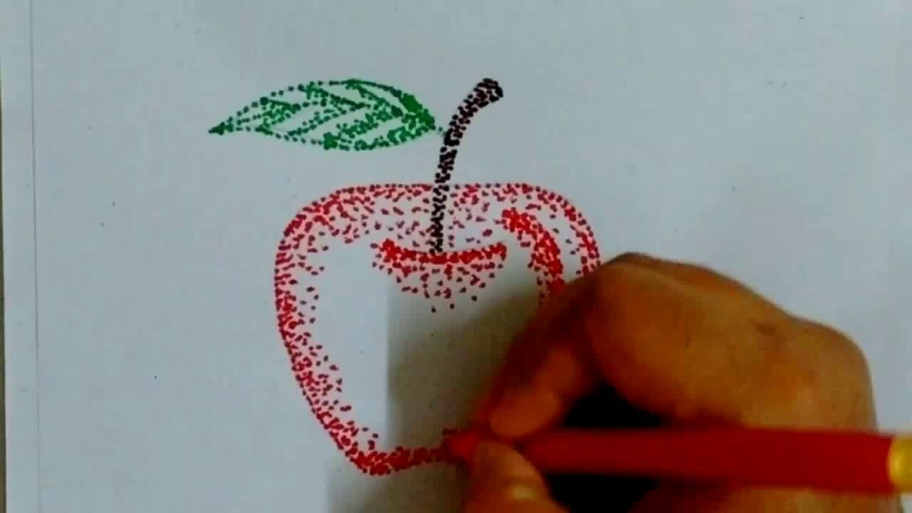 How To Draw Apple With Sketch Pen Dots Pointillism Youtube