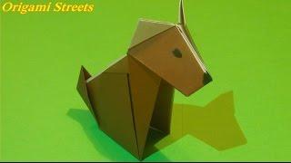 Как сделать собаку из бумаги. Оригами #собака Origami dog