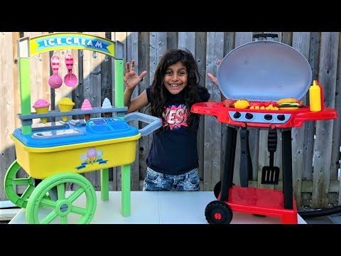 Kids Pretend Play with ICE CREAM cart and BBQ toy