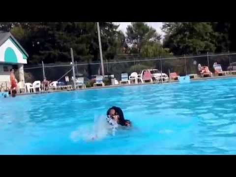 Ice bucket challenge in Icy swimming pool