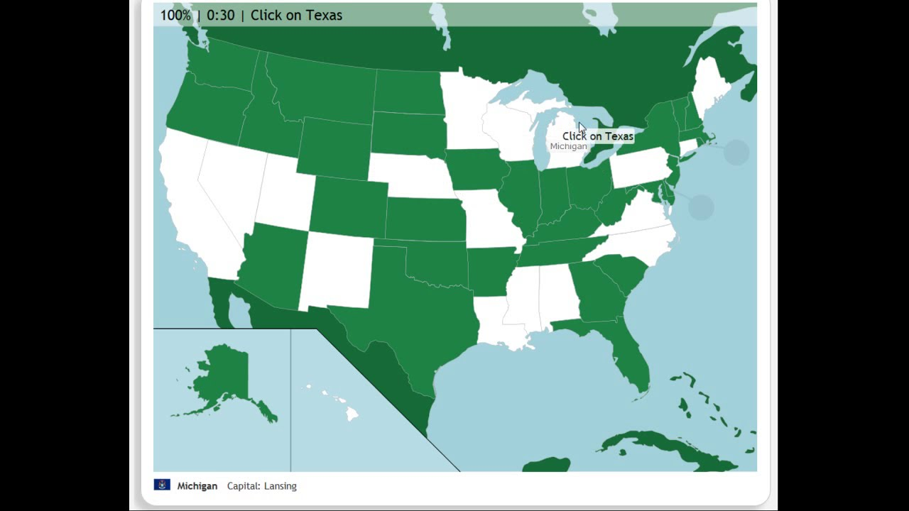 Map Of Texas Quiz.The U S 50 States Map Quiz Game 100 Pin Speedrun Pb 1 15