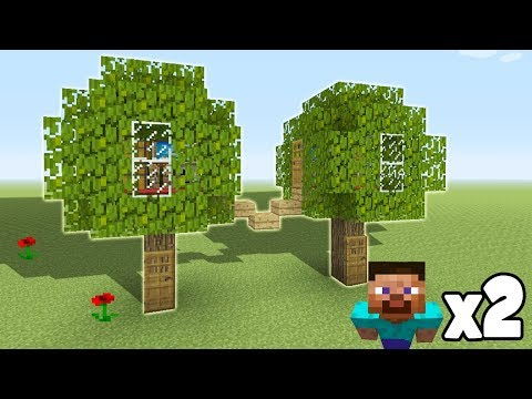 Minecraft Tutorial: How To Make A 2 Player Underground Tree Base