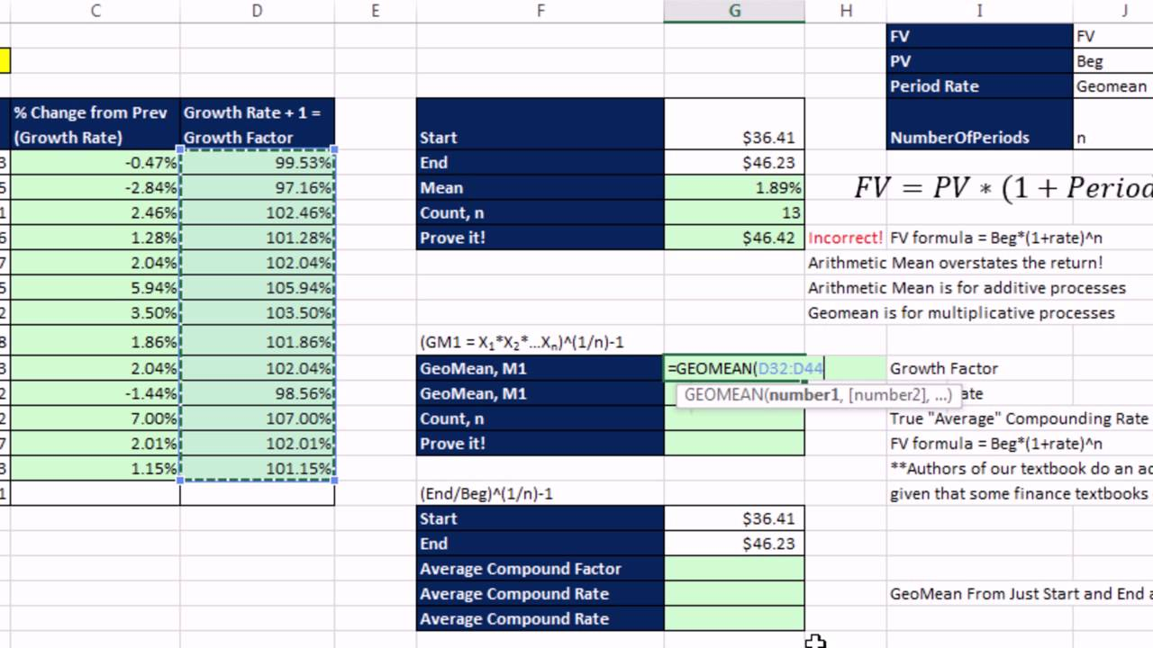 Excel 2013 Statistical Analysis #18: Geometric Mean