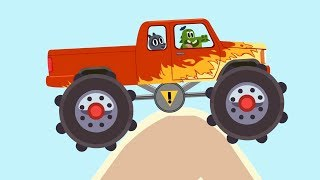 Monster Truck Bigfoot - Cars, cars - Obstacle Cource - Learn Trucks and Cars for Kids and Toddlers