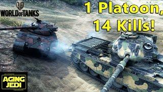 1 Platoon, 2 Tanks, 14 Kills, 14000 Damage! - World of Tanks
