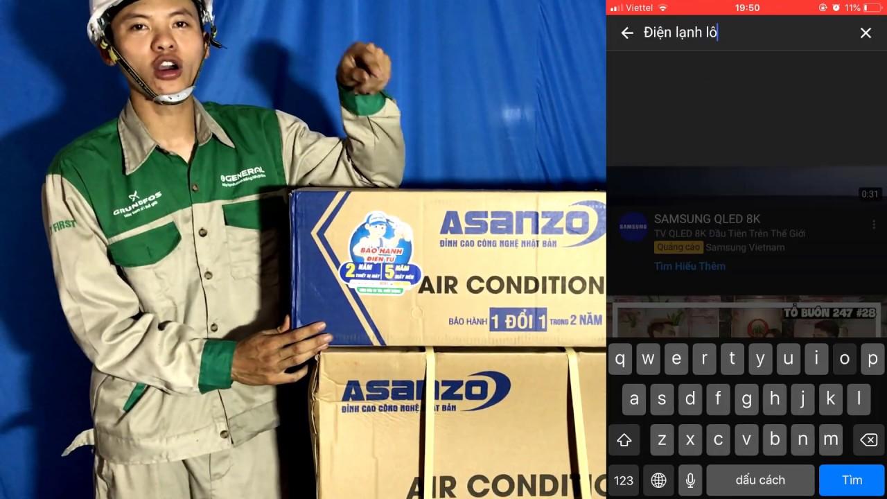 Mở hộp điều hòa máy lạnh asanzo s09 9000 btu đánh giá chi tiết