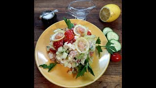 Салат- коктейль с красной рыбой. Salad cocktail with red fish.