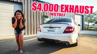 homepage tile video photo for Making my wife's C63 AMG SUPER LOUD!! (Armytrix Exhaust Install)