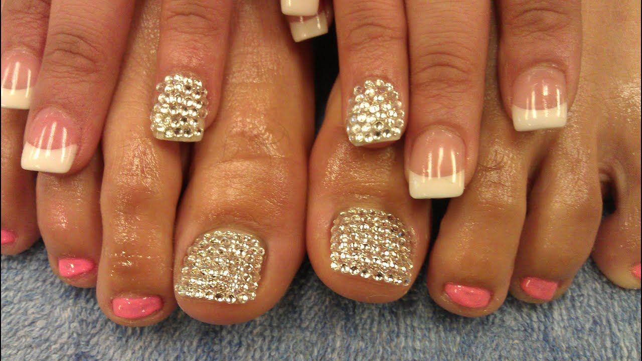 PRETTY DIAMOND TOES AND NAILS - YouTube