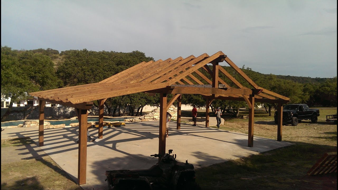 Timber Frame Pavilion Time Lapse - YouTube