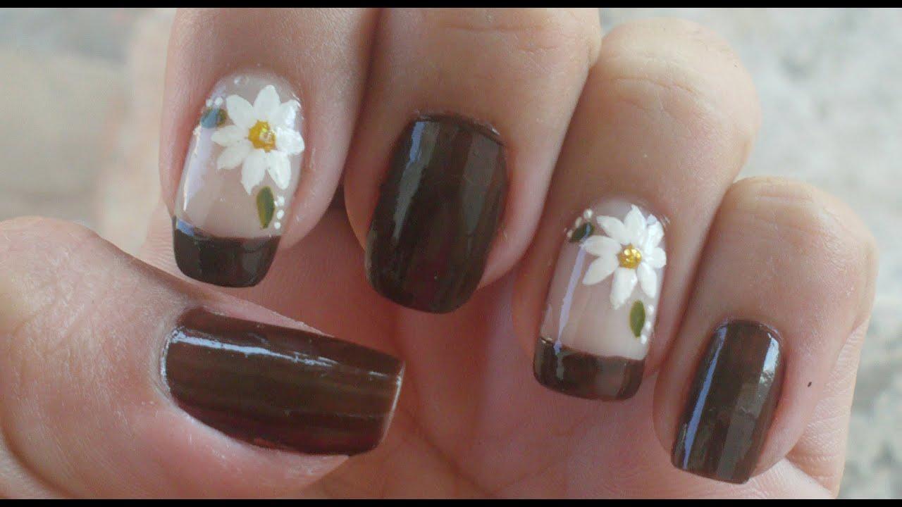 Unhas Express Francesinha Com Flor Manual Bela e Simples Nail Art YouTube -> Decoração De Unhas Curtas Simples