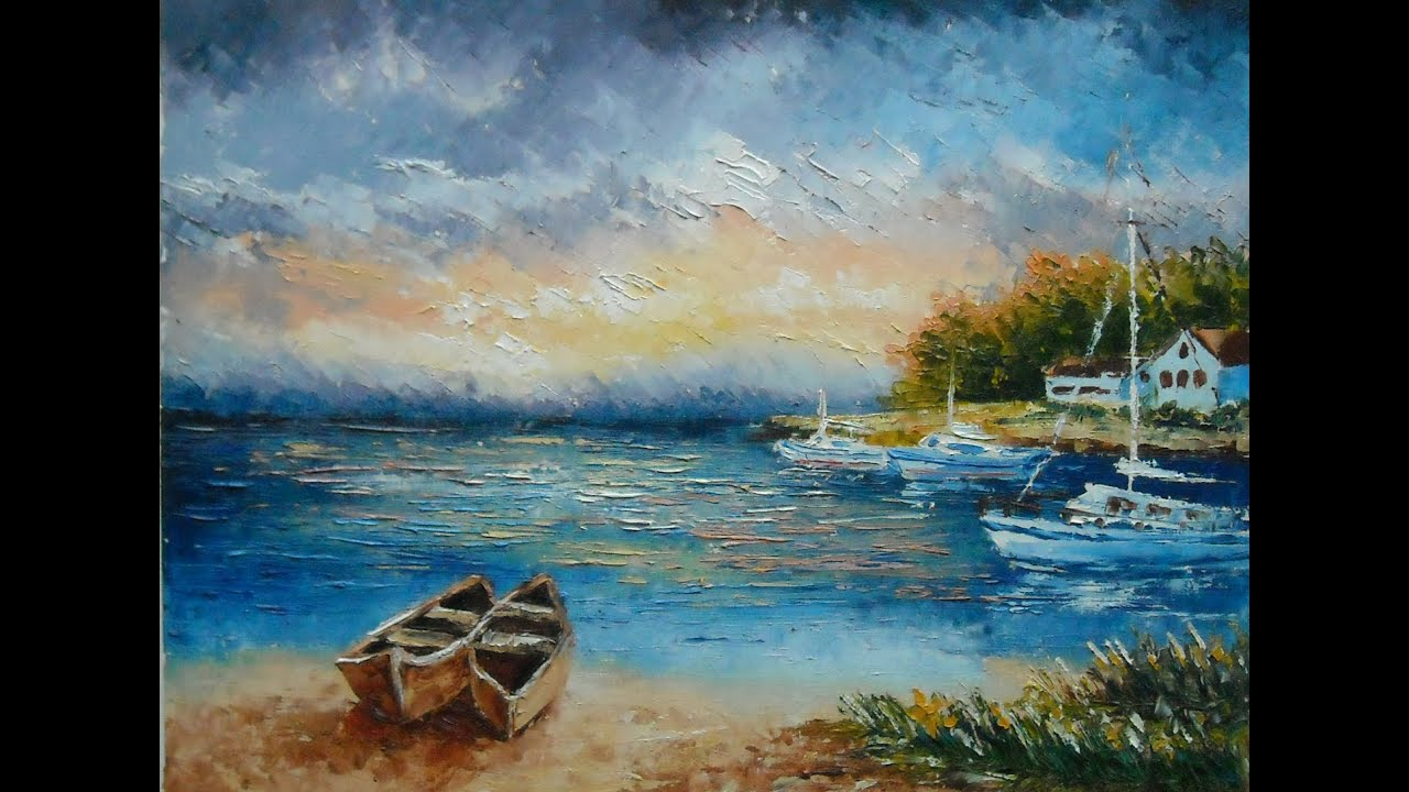 palette knife painting lonely boats with lana kanyo youtube