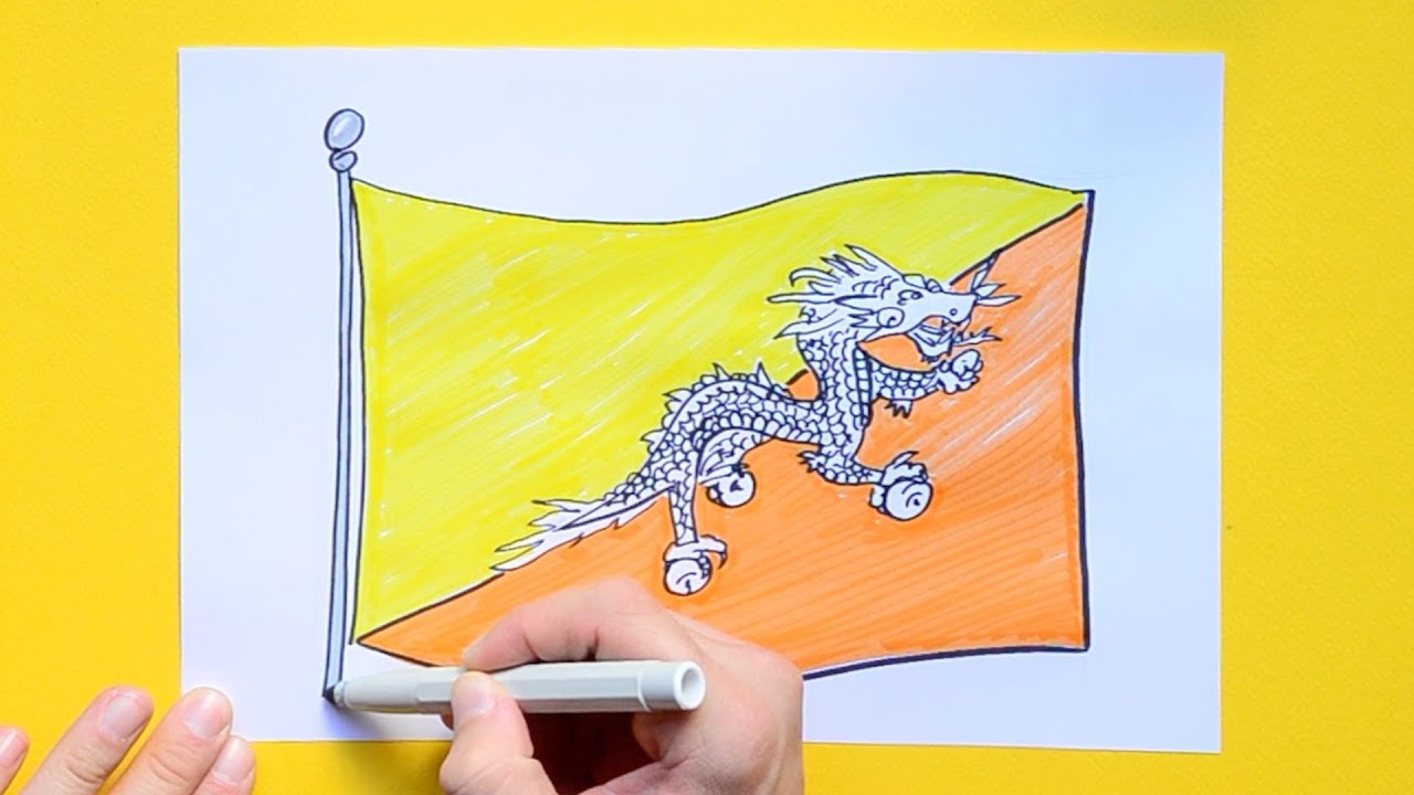 How to draw the National Flag of Bhutan
