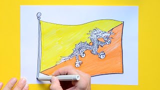How to draw and color the National Flag of Bhutan