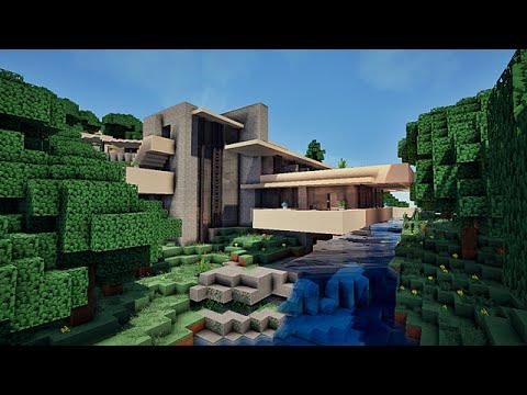 Maison moderne sur une cascade falling water sur minecraft youtube - Maison modern minecraft ...