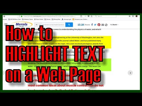 How To HIGHLIGHT TEXT On A Web Page