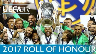 2017 roll of honour