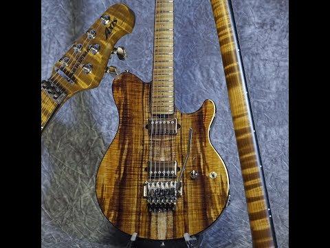 Koa BFR Axis Trans Gold with stunning flamed body - Ernie Ball Music Man guitar