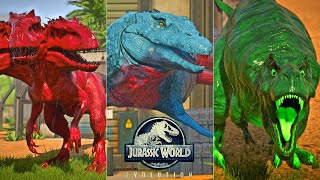 Mosasaurus, Monster REX, Three Head I-REX, Ninja Turtle Fight! | Jurassic World Evolution