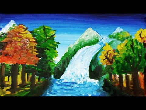 Waterfall Landscape Painting for Beginners | How to Paint Water – Waterfalls | Draw water mountain.