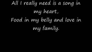 Raffi All I Really Need with Lyrics