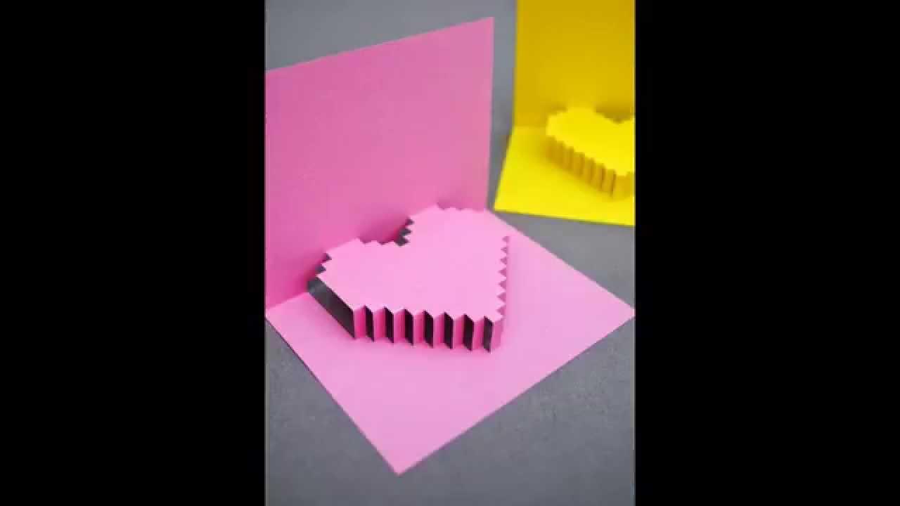 Картинки, как сделать 3д сердечко в открытке