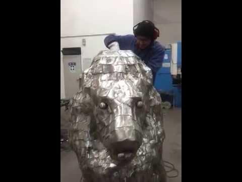 Scultura leone inox Bellavere Marco