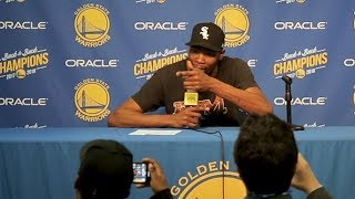 Durant goes back and forth with reporter in lighthearted exchange thumbnail