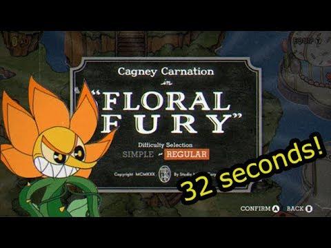 Cuphead Speedrun - Floral Fury Regular (0:32)