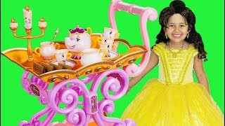 Princess Belle Musical Tea Party Cart Pretend Play