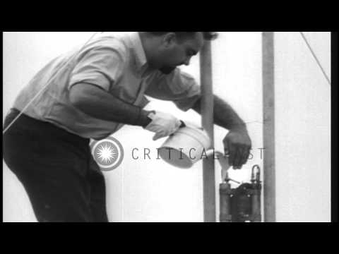George Edward Pendray launches first liquid fueled rocket from Staten Island in N...HD Stock Footage