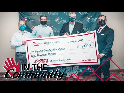 Mountain America Credit Union's Goals Program with the Arizona Coyotes Donates $8,000 to Fighter Country Foundation
