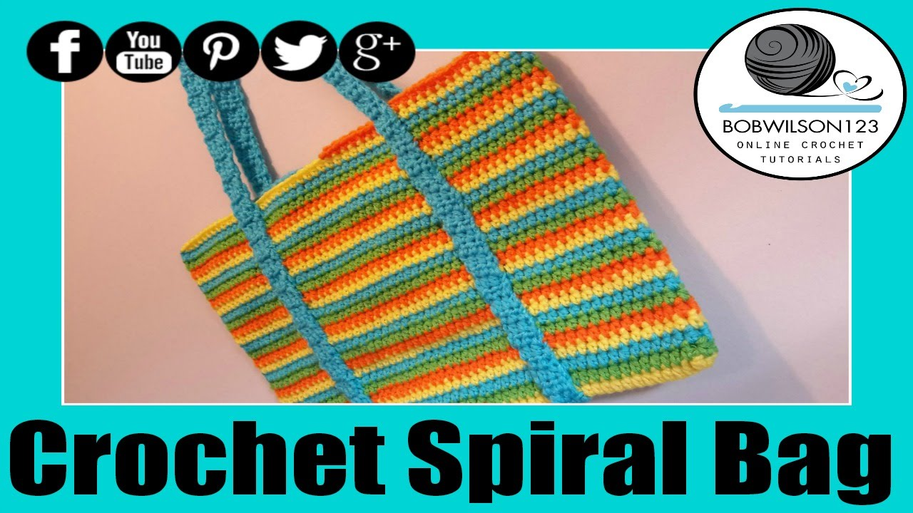 Crochet Straw Beach Bag Tutorial And Pattern : Crochet Spiral Beach Bag Crochet Tutorial - YouTube