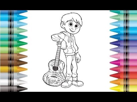 Disney Pixar Movie Coco Miguel Coloring Pages For Kids Children Drawing