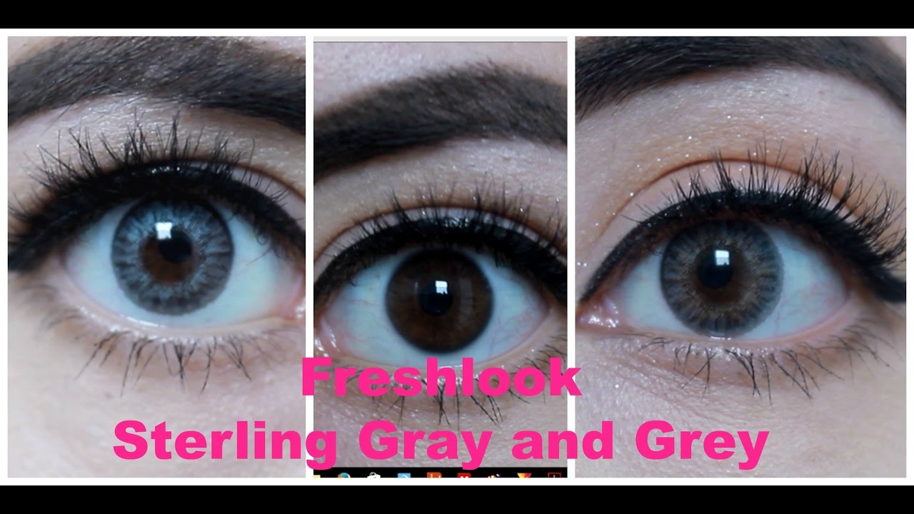 Freshlook Colorblends Grey Amp Sterling Gray On Dark Eyes