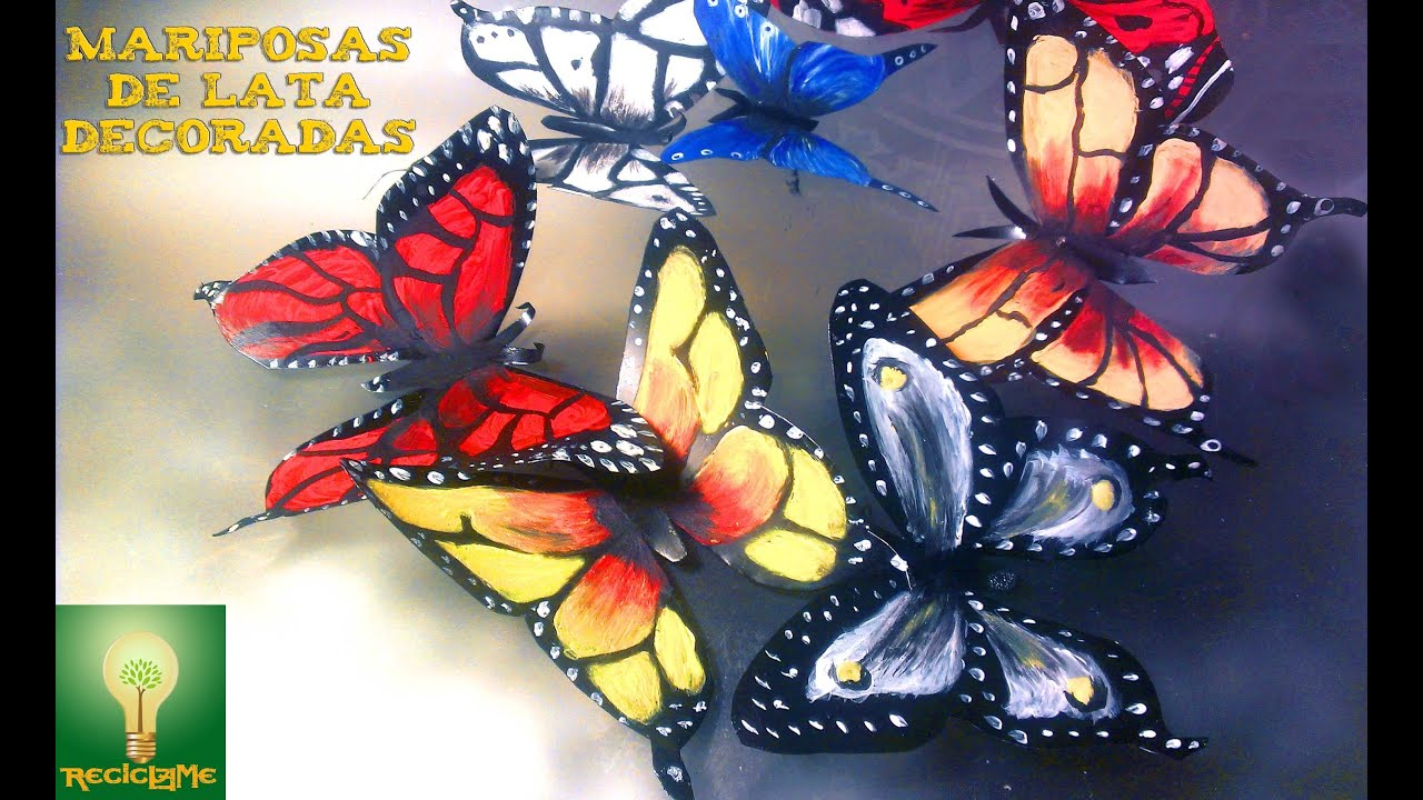 Como decorar mariposas de lata aluminio♥♥ - YouTube