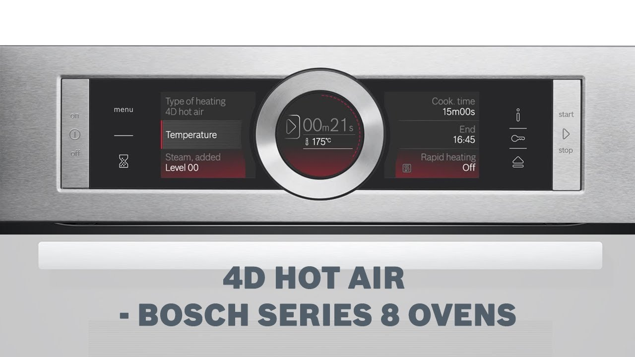 4d hotair feature for distributing heat evenly bosch series 8 ovens youtube. Black Bedroom Furniture Sets. Home Design Ideas