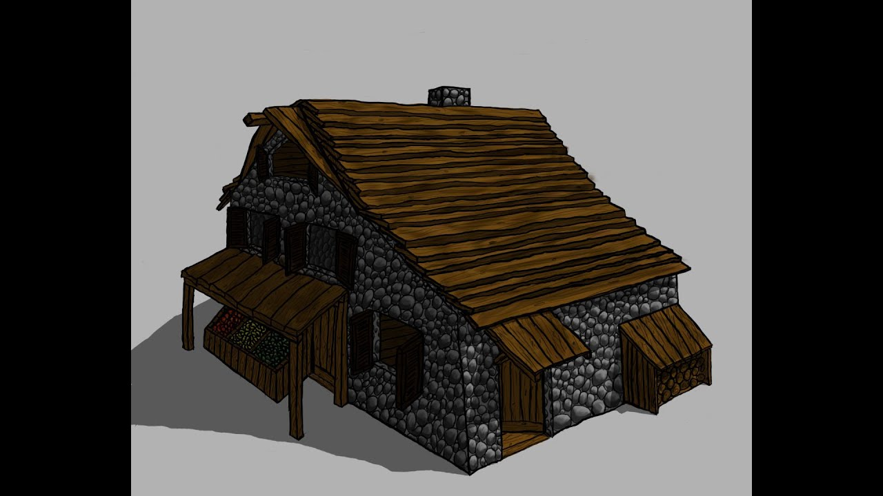 Speed Drawing A Stone And Wooden House   20 Hours In 5 Minutes