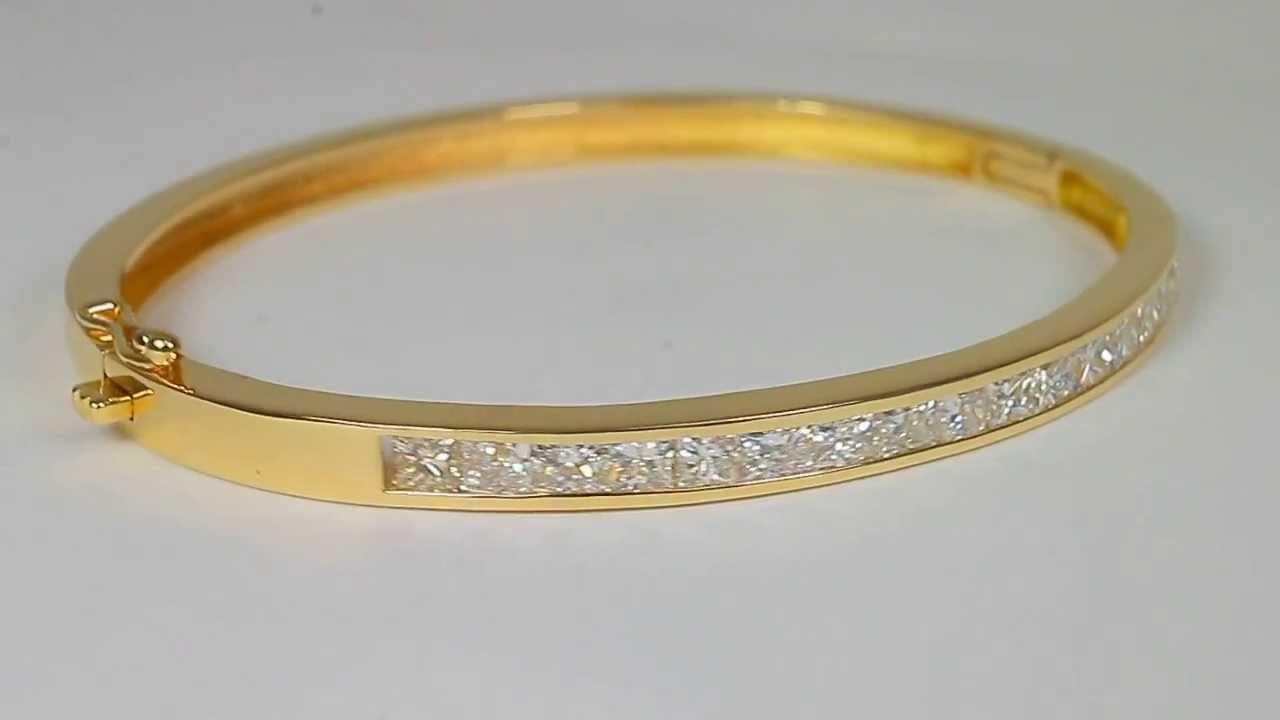 3 50tcw Glittering Channel Set Diamond Bangle 18k Yellow Gold