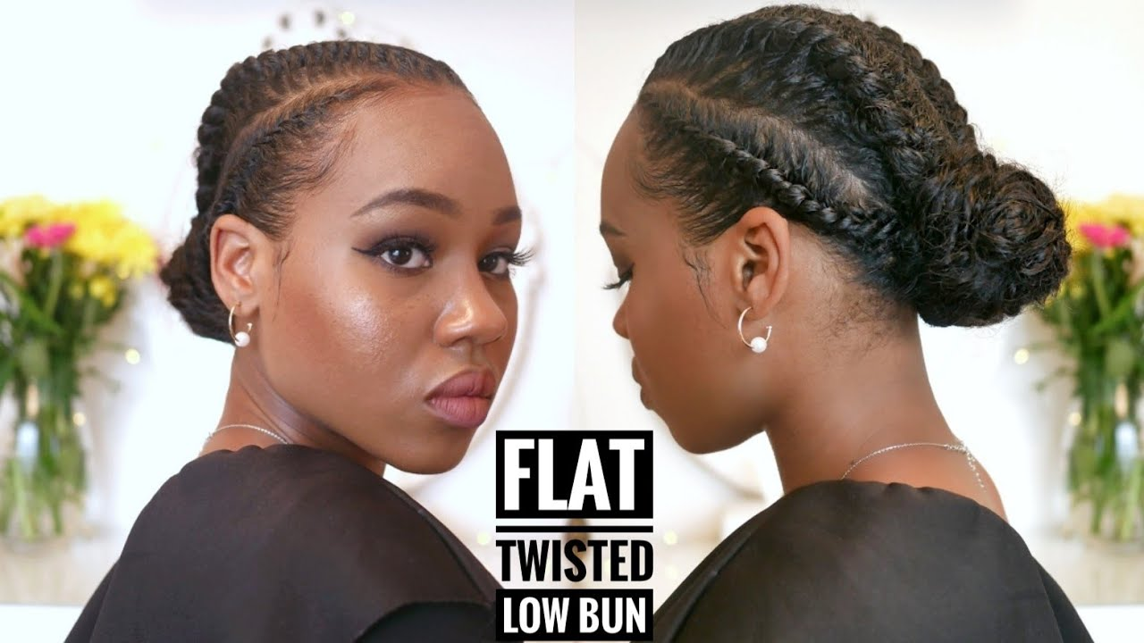 Easy Twisted Low Bun Protective On Short Natural Hair How To