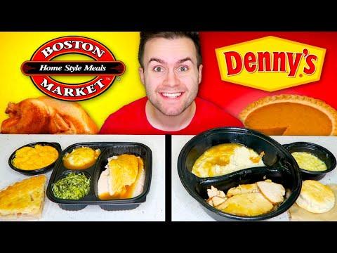 DENNY'S Vs. BOSTON MARKET! Thanksgiving Edition! - Restaurant Taste Test!