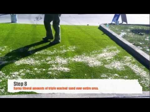 DIY artificial grass installation on concrete  YouTube