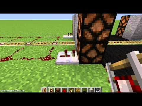 Minecraft Tutorial: How to make a Railroad Crossing with Redstone Lamps