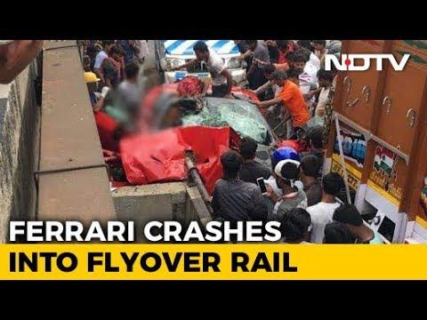 1 Dead As Ferrari Convertible Crashes Into Flyover Wall In Kolkata